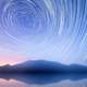 Star Trails in the sky over the mountain and mountains
