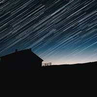 Star Trails over the lone cabin