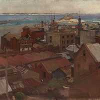 Oil Painting of Newcastle, New South Wales, Australia in 1925