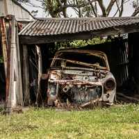 Old Car in Garage in Newcastle, New South Wales, Australia