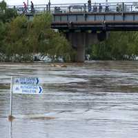 Flooding along the Maitland riverfront during the 2007 flood in New South Wales, Australia