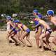 Nippers at start position before their swim at Stanwell Park beach in Wollongong, New South Wales, Australia