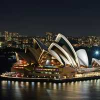 Night Time Opera House with city skyline in Sydney, New South Wales, Australia
