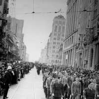 Royal Australian Airforce recruits in 1940 marching in Brisbane, Queensland, Australia