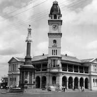 Bundaberg War Memorial in front of the Bundaberg Post Office, 1948 in Queensland, Australia