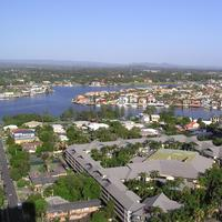 Gold Coast Waterway and Chevron Island in Queensland, Australia