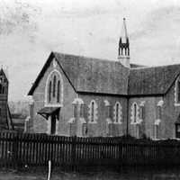 St. James Church of England during construction in 1869 in Toowoomba, Queensland, Australia