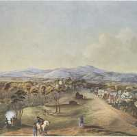 North Terrace of Adelaide in 1841 in Southern Australia