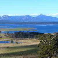 Moulting Lagoon and Great Oyster Bay in Tasmania, Australia