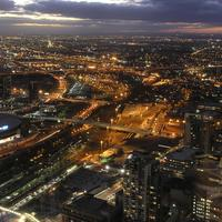 Lighted-up Melbourne Cityscape at Night in Victoria, Australia