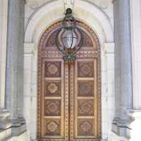 Parliament building entrance doors in Melbourne, Victoria, Australia