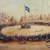 Swearing Allegiance to the Southern Cross at the Eureka Stockade, Victoria, Australia