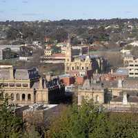 View of central Bendigo from Camp Hill in Victoria, Australia