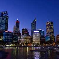 Skyline of Perth at Night in Australia