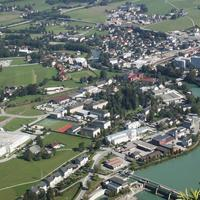 Cityscape layout with town and buildings in Hallein, Austria
