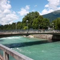 Pfarrbrücke bridge with river running below it in Leinz, Austria