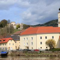 Riverside and Wolfsberg Castle in Austria