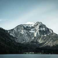 Snow-capped mountain at Langbathsee, Austria