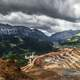 Storm clouds over the Mountains and terraces in Erzberg Eisenerz, Austria