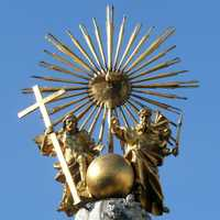 Trinity on top of the Holy Trinity column in Linz, Austria