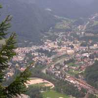 View of Bad Ischi from a hill in Austria