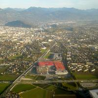 Salzburg seen on takeoff from Salzburg Airport in Austria