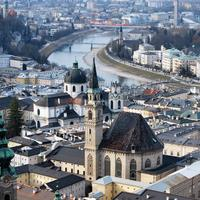 Cityscape of Salzburg, Austria with buildings, Architecture, and river