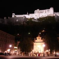 Festung Hohensalzburg with Kapitel Square in the Background in Salzburg, Austria
