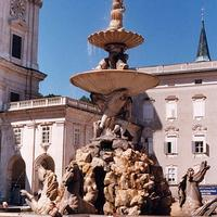 Fountain in the Residenzplatz in Salzburg, Austria