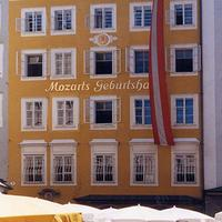 Mozart's birthplace and streets in Salzburg, Austria