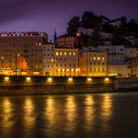 Night Time with lights on the river in Salzburg, Austria