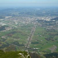 The Salzburg basin as viewed from the air in Austria