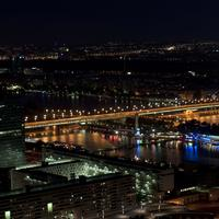 Empire Bridge at night with lights in Vienna, Austria