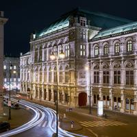 Lights, streets, and buildings in Vienna, Austria