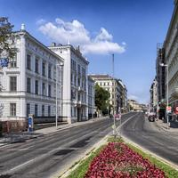 Street View with buildings and road in Vienna, Austria