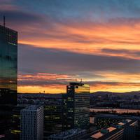 Sunset and city views with towers in Vienna, Austria