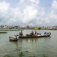 Boats on the River in Dhaka, Bangladesh