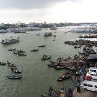 Buriganga River with lots of Boats in Dhaka, Bangladesh