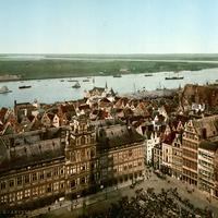 Antwerp and the river Scheld in Belgium around 1900