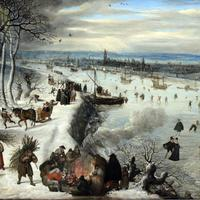 Antwerp in 1590 with the Frozen Scheldt in Belgium