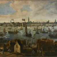 Pier of Antwerp, Belgium from Vlaams Hoofd in the 1600s