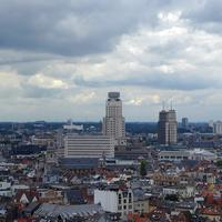 Skyscrapers under the clouds in Antwerp, Belgium