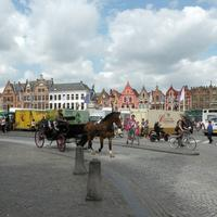 Belgique with horse carriage and streets in Brussels, Belgium