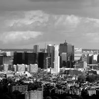 Black and white cityscape skyline in Brussels, Belgium