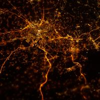 Liege, Belgium at Night taken from the ISS