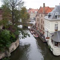 Aerial view over one of Bruges' canals in Belgium