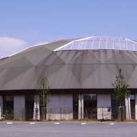 Exterior of the Boudewijn Seapark dolphinarium in Bruges, Belgium