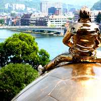 Golden Sculpture overlooking Namur, Belgium