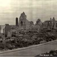 Ruins of Ypres after World War II in Belgium