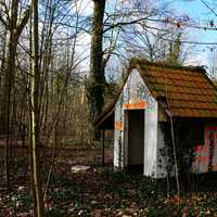 Small abandoned house in Dadipark, Dadizele, Belgium